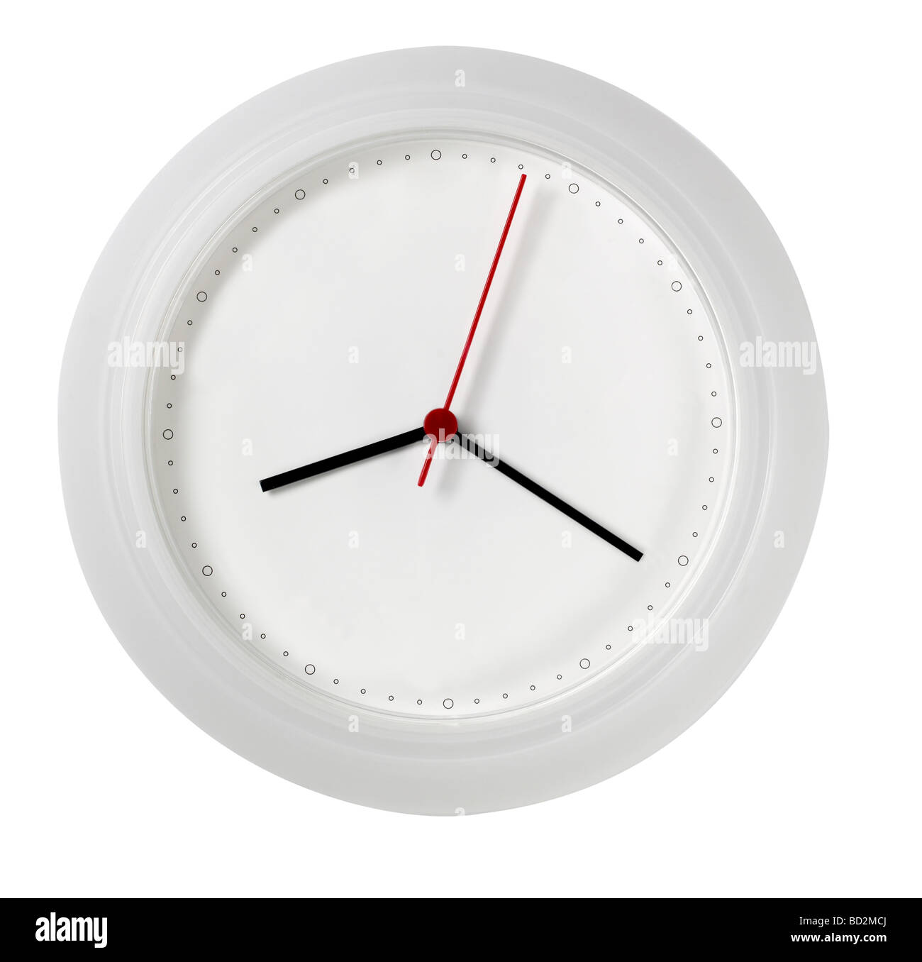 White Wall Clock With No Numbers Blank Face Stock Photo