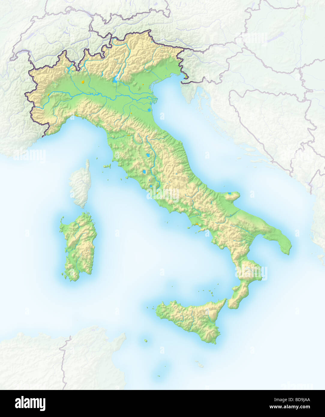 Italy Shaded Relief Map Stock Photo