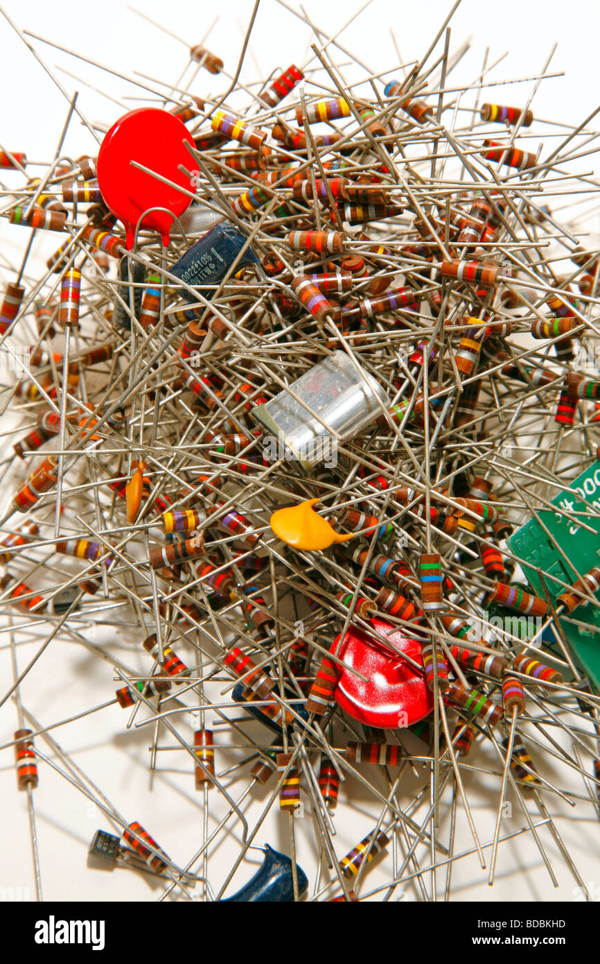 Electronics Components And Circuit Diagram Stock Photo