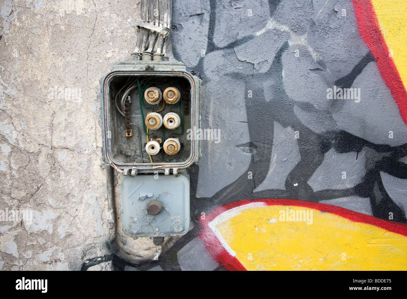 hight resolution of old fuse box on abandoned warehouse wall stock image