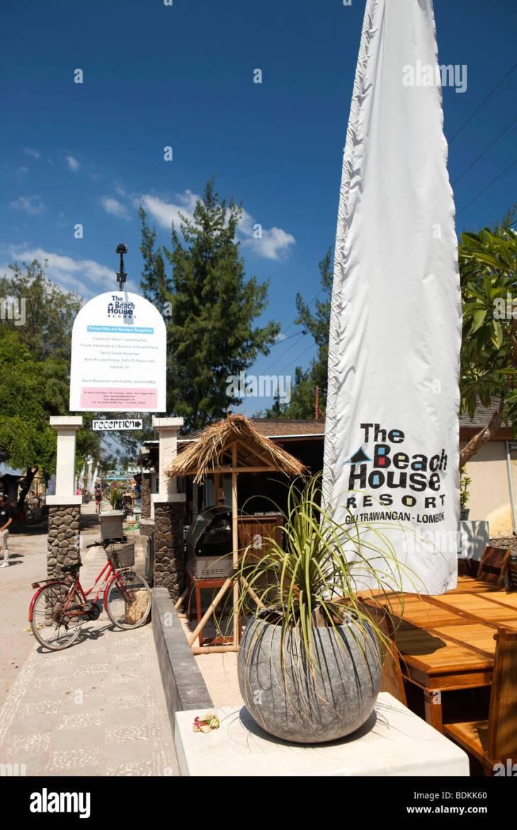 Indonesia, Lombok, Gili Trawangan, Beach House Resort, advertising banner  at reception