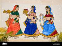 Indian women wall painting at the City Palace, Udiapur ...