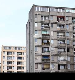 warsaw poland old style communist era public housing concrete flats note renovated bloc behind taken summer [ 1300 x 955 Pixel ]