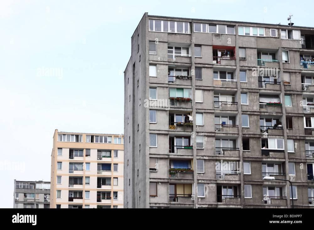 medium resolution of warsaw poland old style communist era public housing concrete flats note renovated bloc behind taken summer