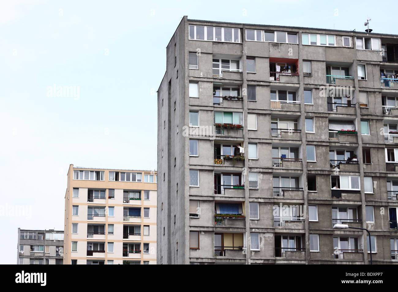 hight resolution of warsaw poland old style communist era public housing concrete flats note renovated bloc behind taken summer