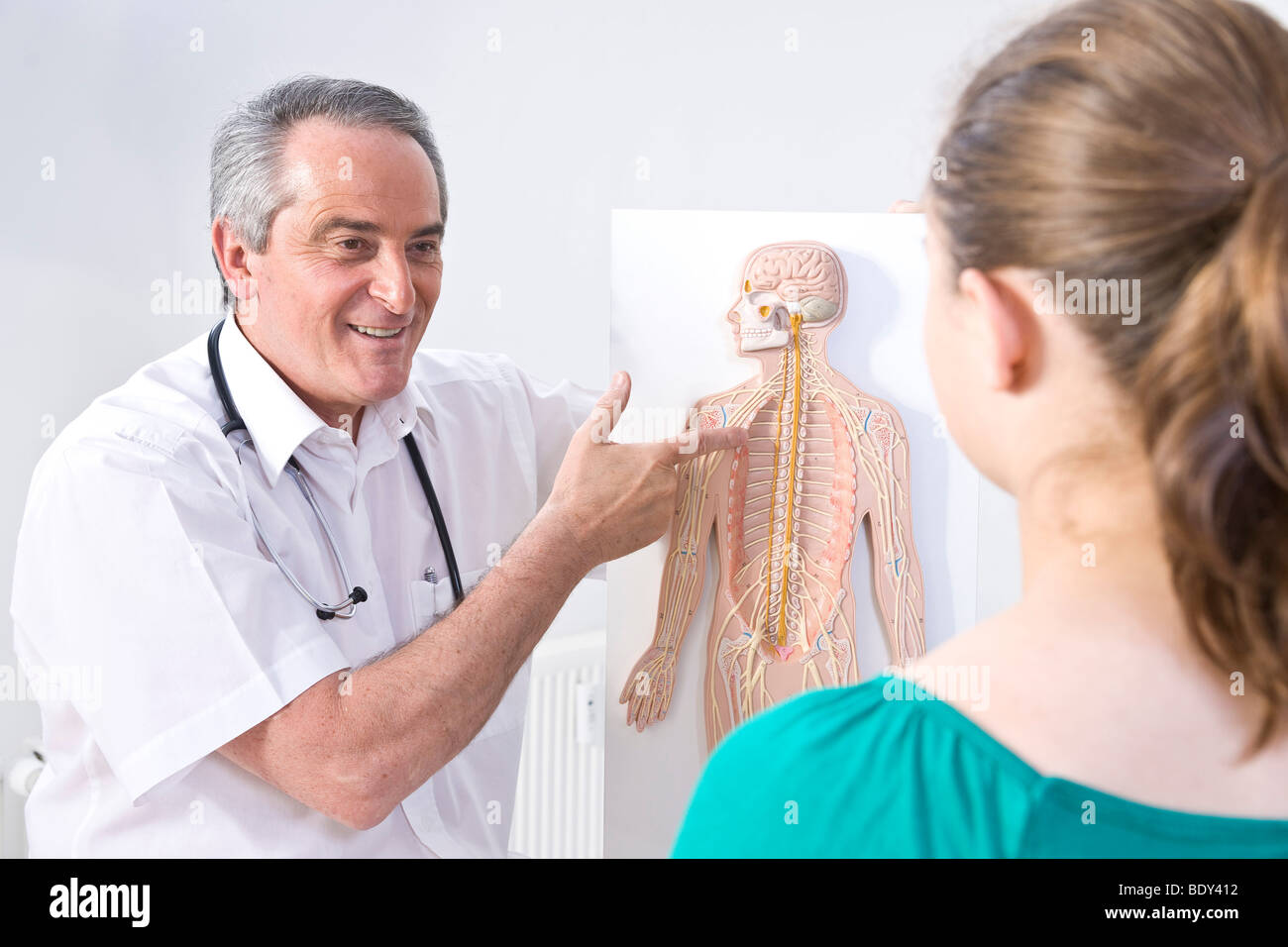 hight resolution of doctor explaining the structure of a human being with a diagram to a young patient