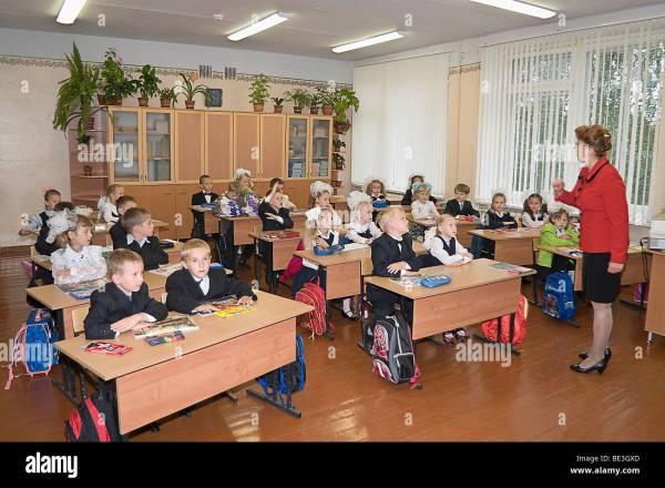 Russian Schoolgirl In Uniform Stock &