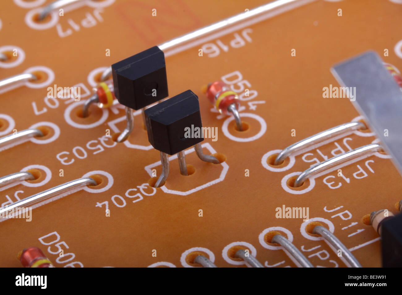 hight resolution of electronic components on a wiring board shown in a very close up macro stock