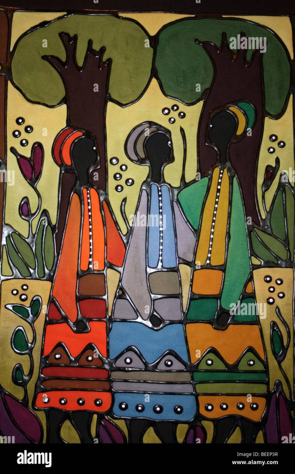 Traditional South African Artwork Showing Village Women