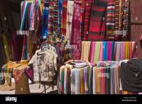 Display of silk scarves Essaouira Morocco Stock Photo ...