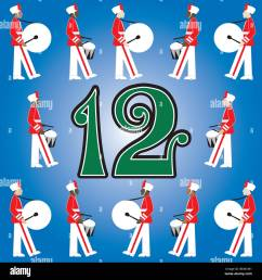 the 12 days of christmas vector illustration there is one for each day can be used as an educational flash card for counting  [ 1300 x 1390 Pixel ]
