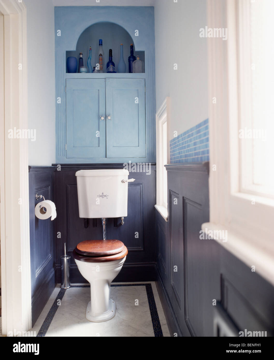 buy kitchen sink glad bags pale blue fitted cupboard above toilet with mahogany seat ...
