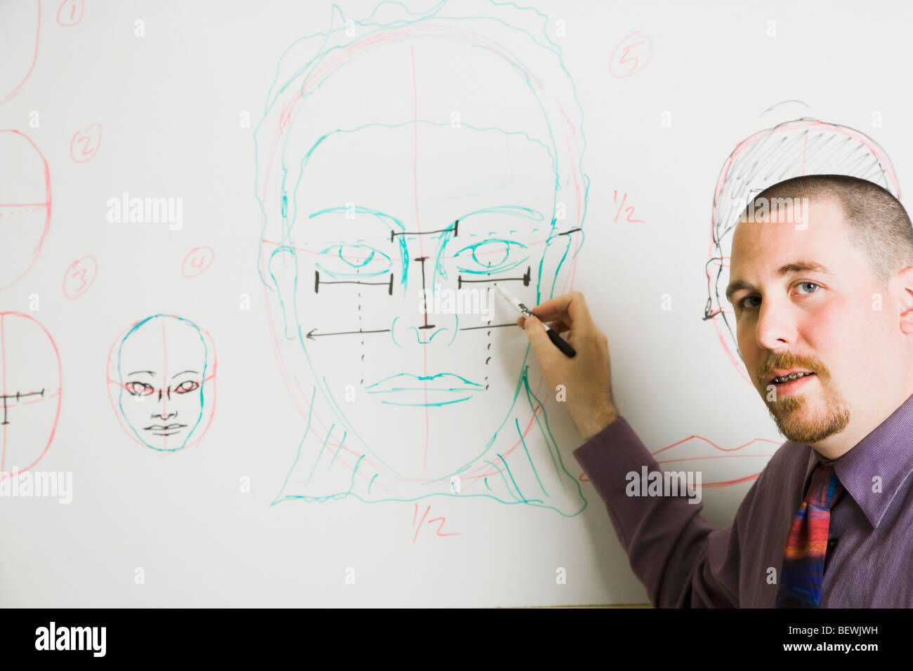 hight resolution of professor explaining human face in a drawing class