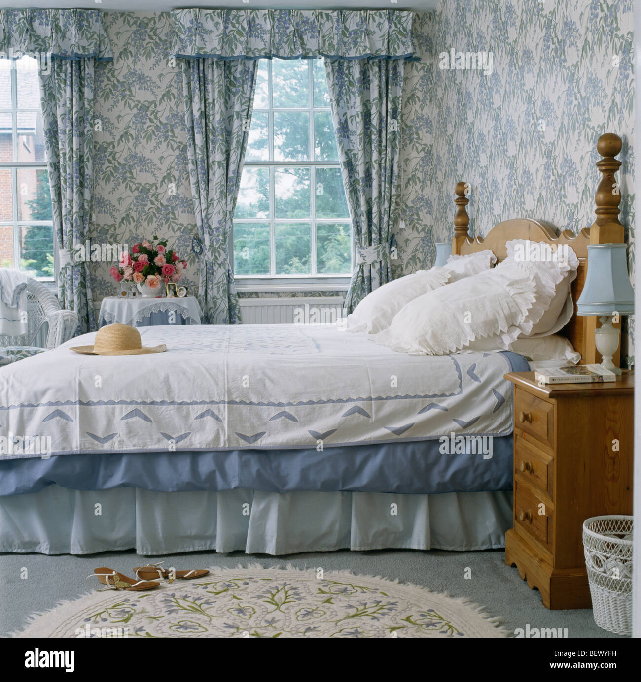 Blue White Wallpaper And Matching Curtains In Traditional Country