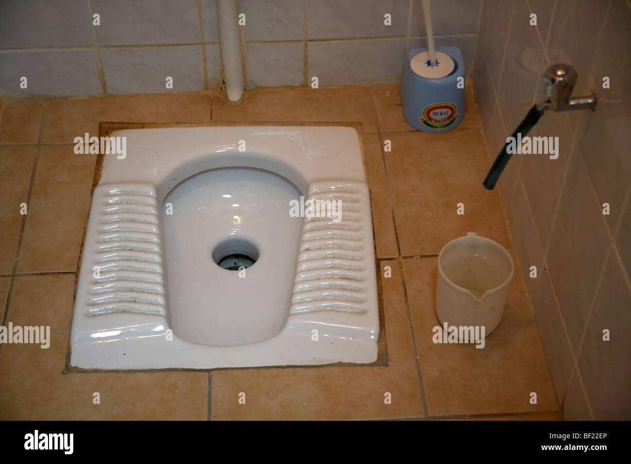 squat turkish toilet in bathroom in famagusta turkish republic of Stock Photo 26476094  Alamy