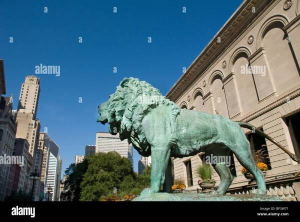 Bronze Lion Statue Entrance Of Art Institute Chicago Stock Royalty Free