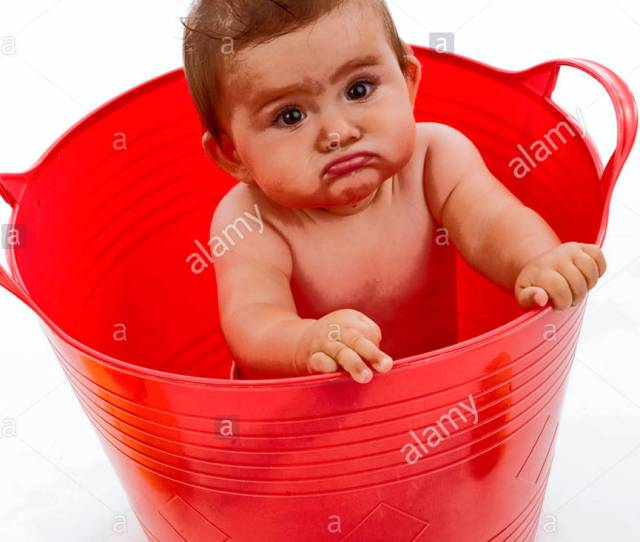 Little Child In Red Tub