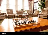 chess set on a table in living room Stock Photo, Royalty ...
