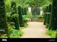 Hanham Court Garden, Cotswolds, England, UK. Formal gravel ...