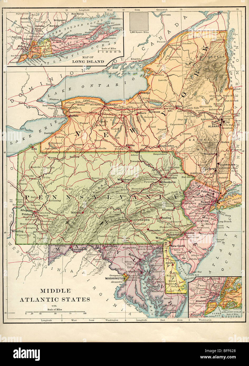 Map Of Middle Atlantic States : middle, atlantic, states, Atlantic, States, Resolution, Stock, Photography, Images, Alamy