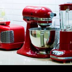 Red Kitchen Appliances Set Of 4 Chairs Retro On A Worktop By Kitchenaid Stock Photo