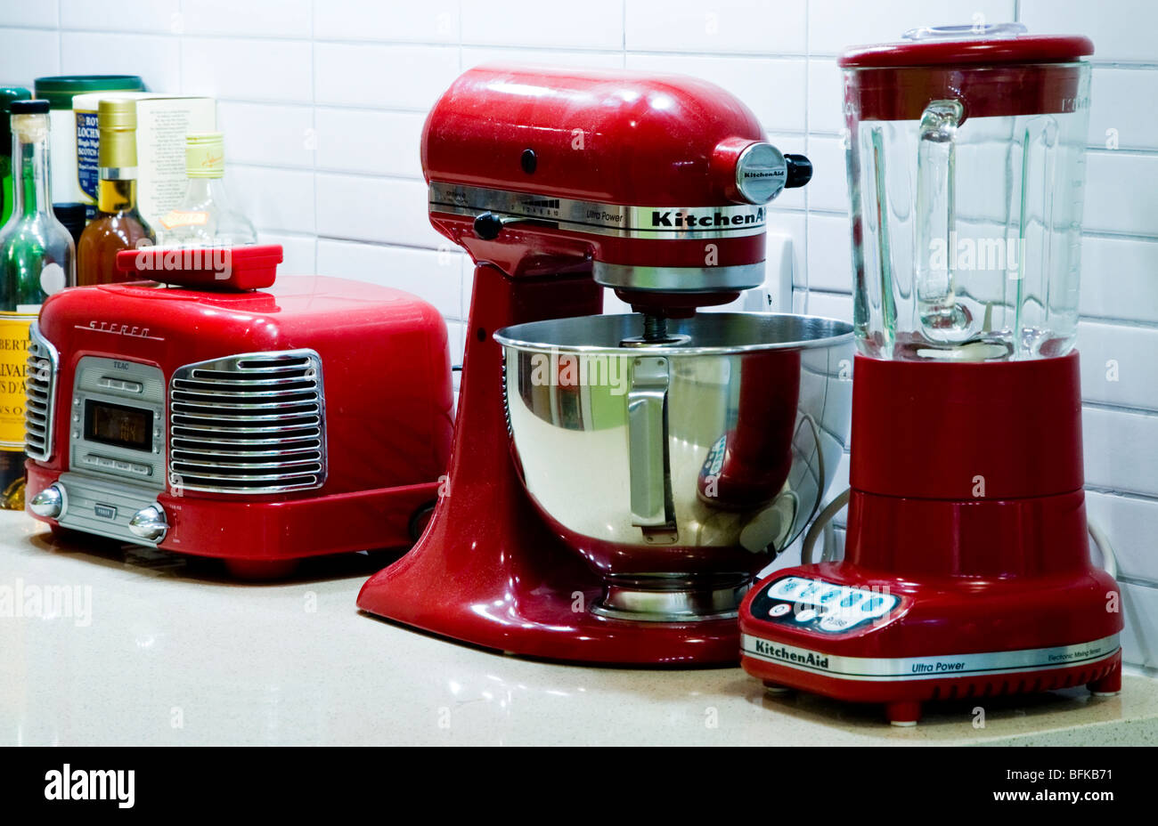red kitchen appliances safety shoes for women retro on a worktop by kitchenaid stock photo