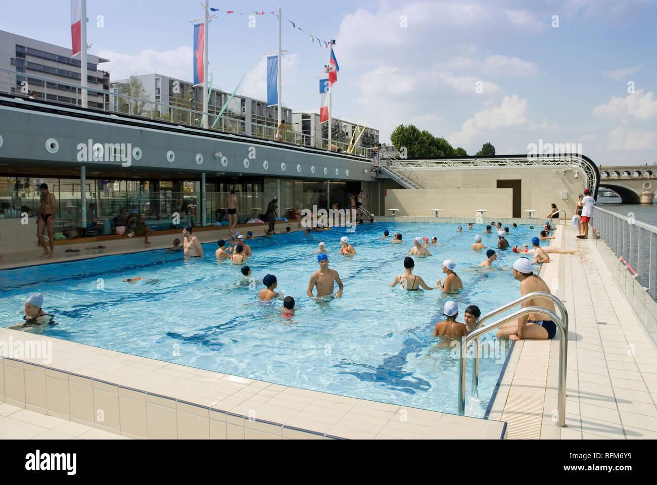 Piscine Josephine Baker floating swimming pool in the Seine Paris Stock Photo Royalty Free