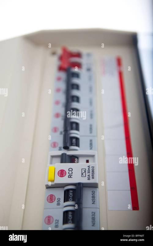 small resolution of consumer unit split load fuse board stock image