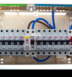 consumer unit split load fuse board stock image [ 1300 x 907 Pixel ]