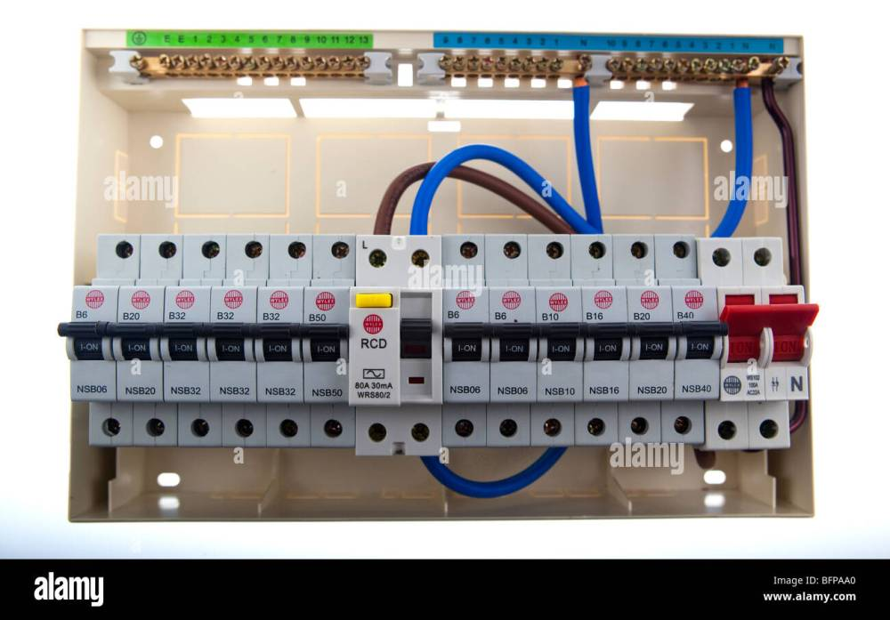 medium resolution of consumer unit split load fuse board stock image