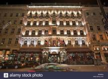 Hotel Sacher Wien Vienna Austria Facade Night Stock