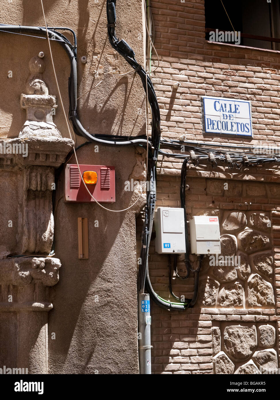 medium resolution of electric wiring outside of an old house in recoletos street toledo spain