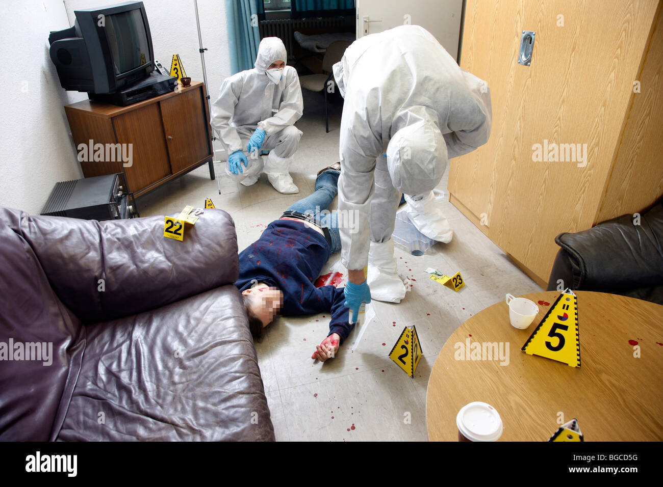 Crime scene investigation forensic people at a murder