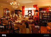 Elaborate Christmas Decorations In A Living Room For Sale ...