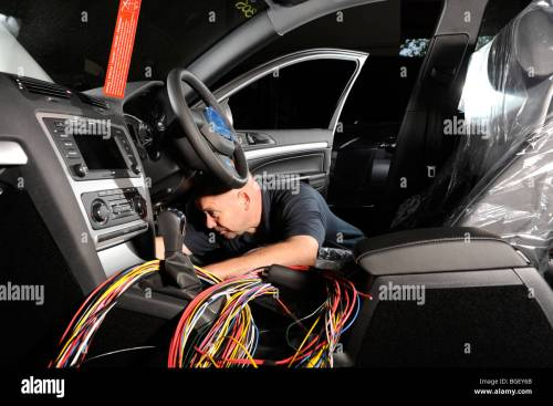 small resolution of a fitter putting a wiring loom harness in a 2009 skoda octavia police car