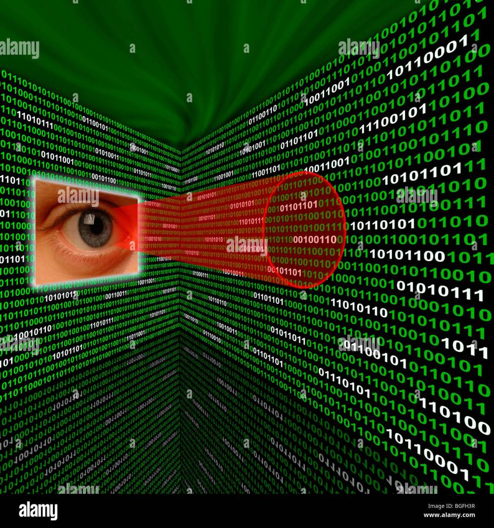 medium resolution of an eye scanning binary code with red sightline stock image