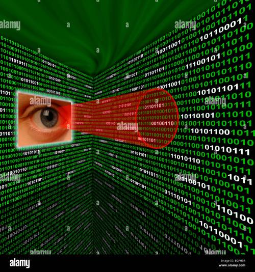 small resolution of an eye scanning binary code with red sightline stock image