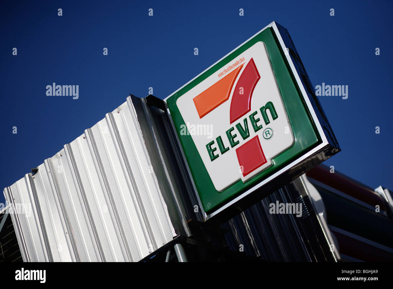 A Sign For A 7 11 Or Seven Eleven Store In Thailand Stock
