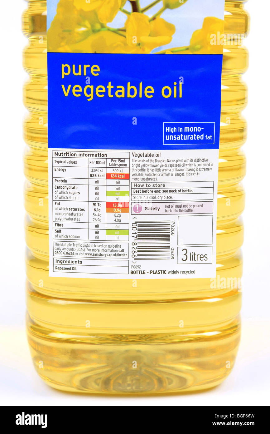 Pure vegetable Oil Label attached to a plastic bottle