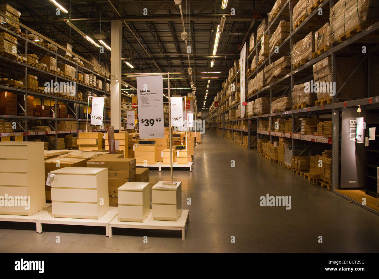 Warehouse area at the Ikea Store in Red Hook Brooklyn, New