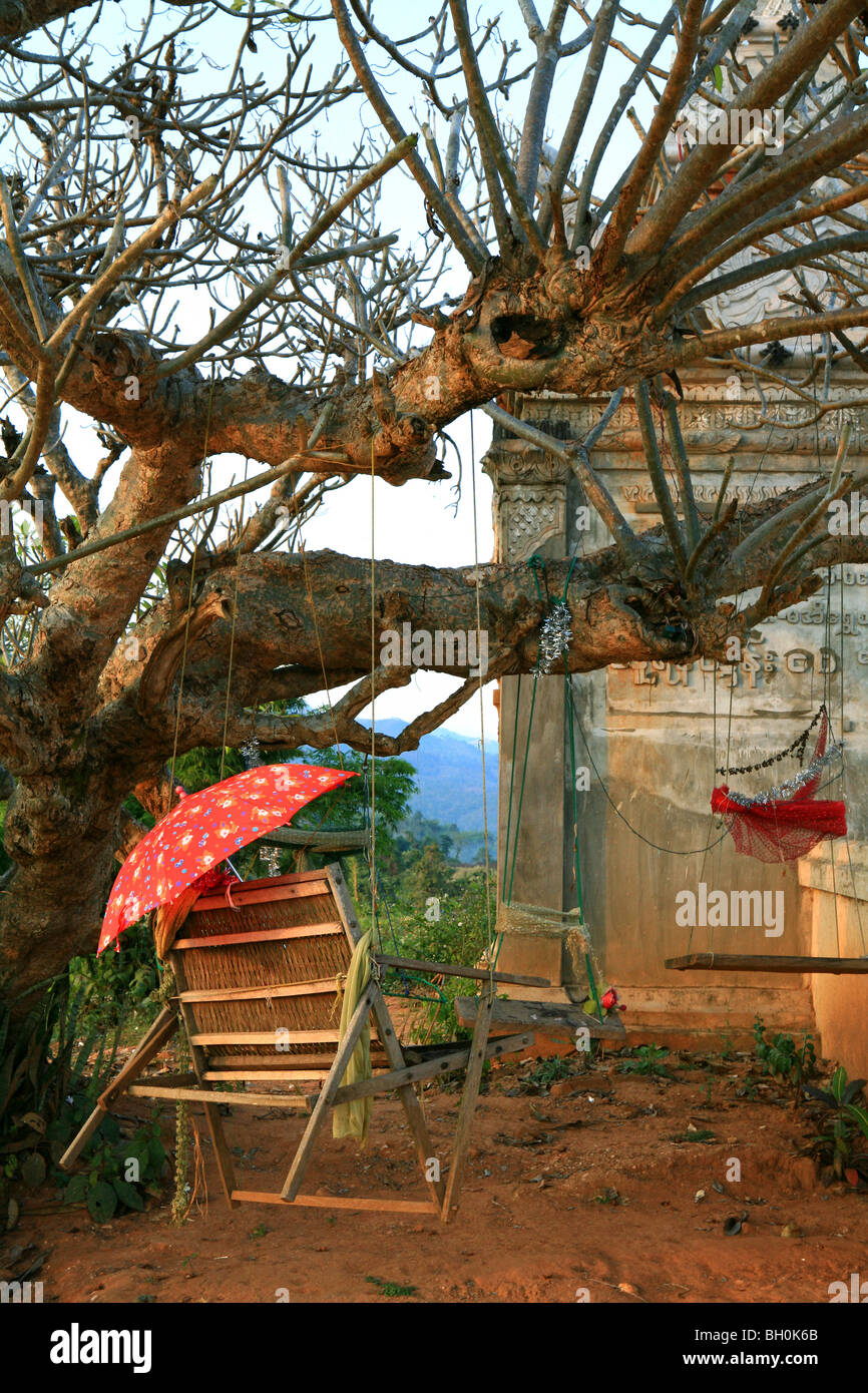 hanging chair tree pediatric bath and swing at a the monastery of hispaw shan state myanmar burma asia
