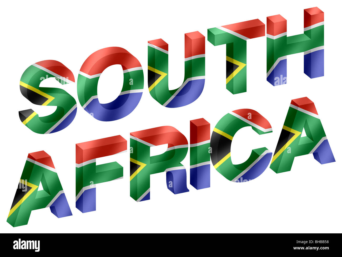 South Africa 3d Lettering Words With South Africa Flag