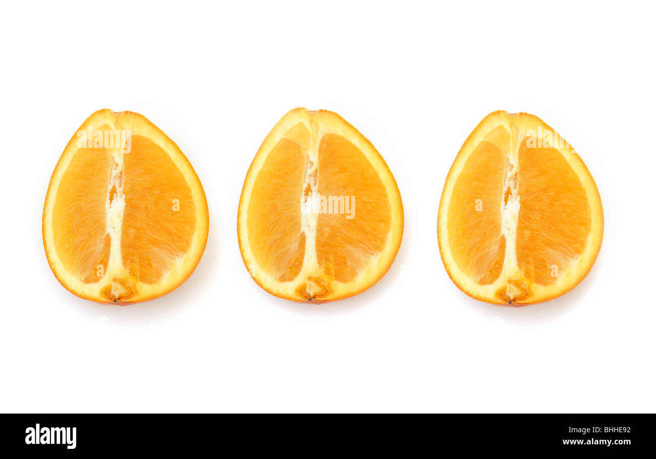 parts of an orange fruit diagram mid position valve wiring cut into three equal stock photo royalty
