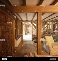 Large wooden support and ceiling beams in living room in ...