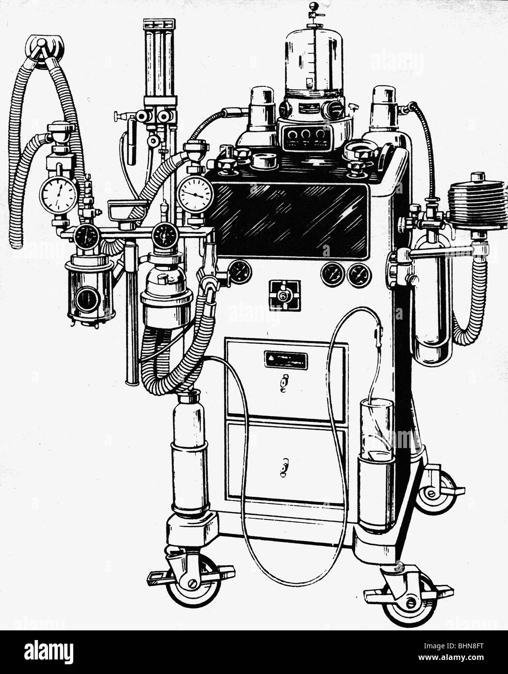 hight resolution of medicine narcosis anaesthetic machine by draeger one of the first machines for anaesthesia by inhalation narcotics additional rights clearances na