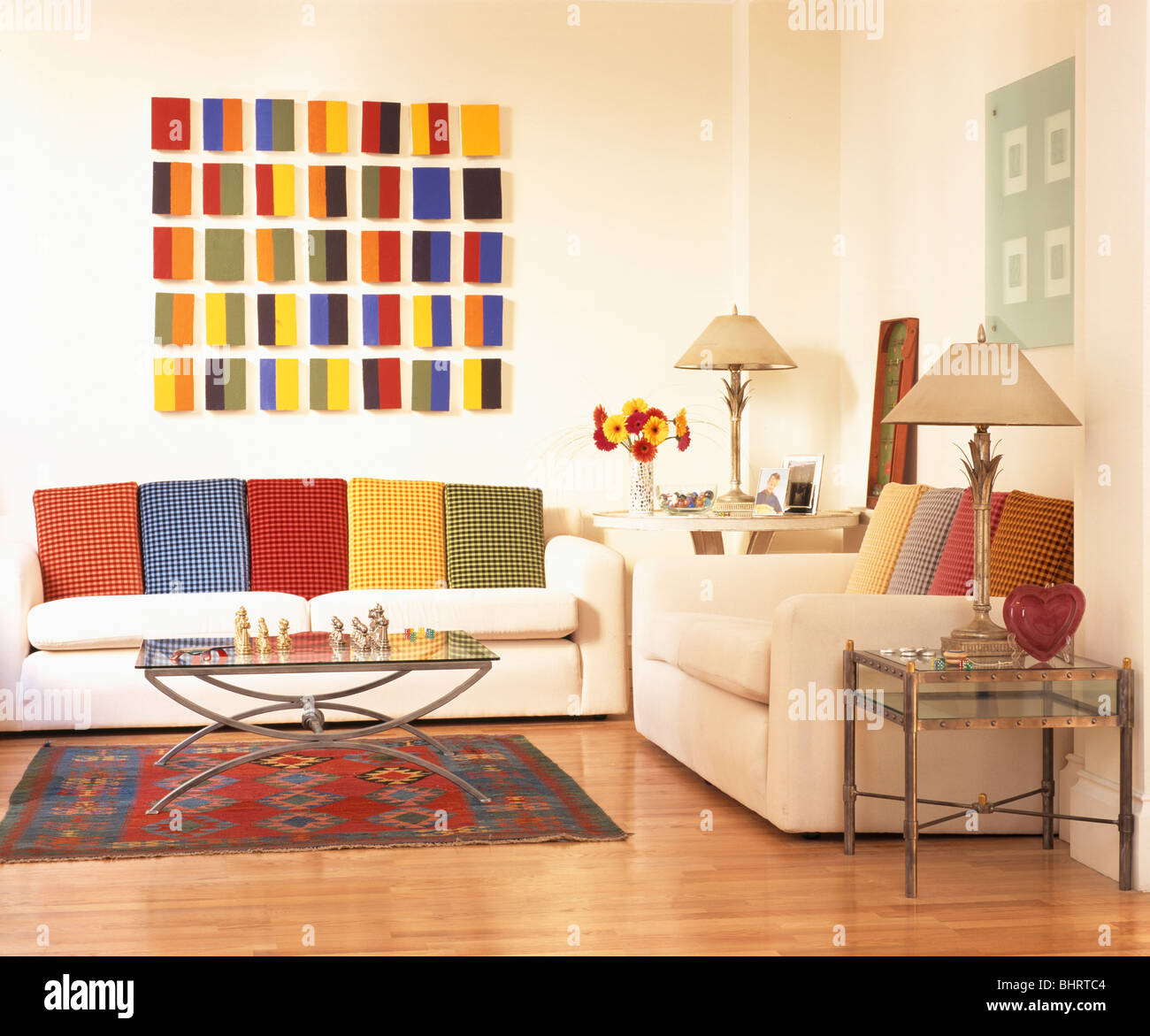 bright colored living room rugs design colour ideas brightly geometric picture above white sofa with colorful cushions in modern rug on wooden floor