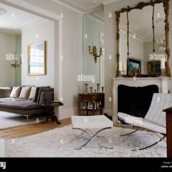 White Leather Chairs For Living Room Folding Chair Bed Uk Mies Van Der Rohe And Stool In With Mirrored Alcove Large Antique Mirror Above Fireplace