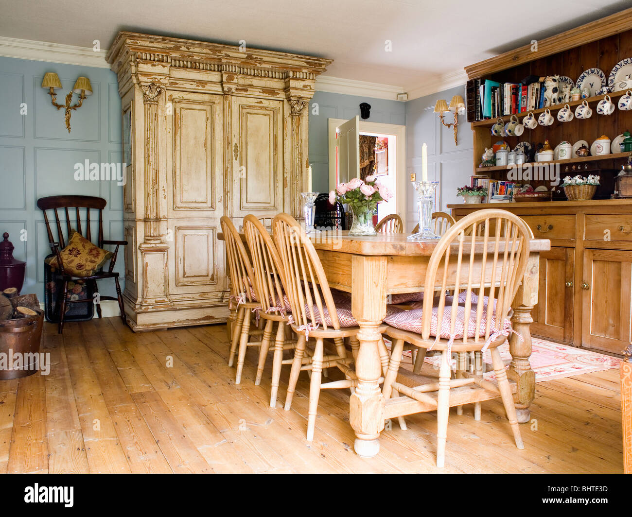 Country Dining Room Chairs Wheel Back Chairs And Pine Table In Country Dining Room With Large