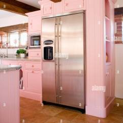Semi Trailer Deutsch Hampton Bay Ceiling Fan Switch Wiring Diagram Large Stainless Steel American-style Fridge-freezer In Pastel Pink Stock Photo: 28205535 - Alamy