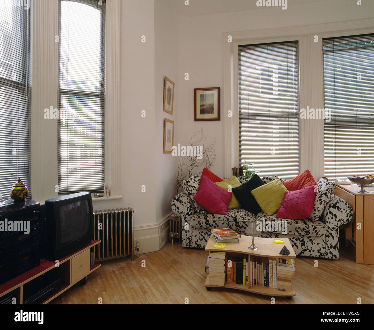 Pink And Lime Green Cushions On Animal Print Sofa Front Of Windows In Stock Photo Alamy